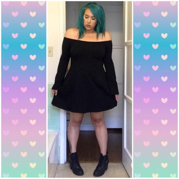 ce6bbfe27fd ASOS Dresses   Skirts - ASOS Black Off Shoulder Bell Sleeves Skater Dress